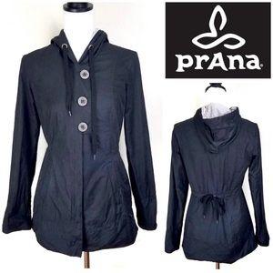 Prana Hooded Water Resistant Black Yoga Jacket